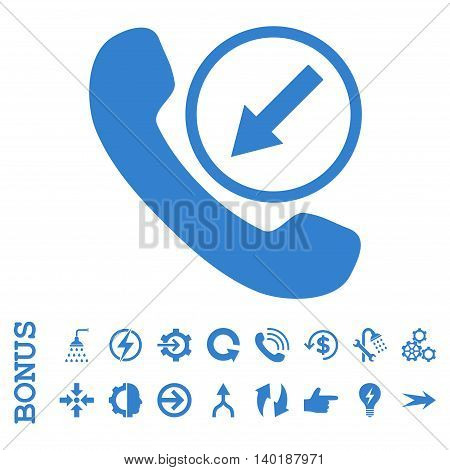 Incoming Call vector icon. Image style is a flat iconic symbol, cobalt color, white background.