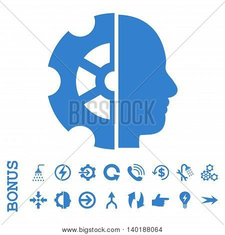 Intellect vector icon. Image style is a flat iconic symbol, cobalt color, white background.