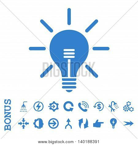 Light Bulb vector icon. Image style is a flat iconic symbol, cobalt color, white background.