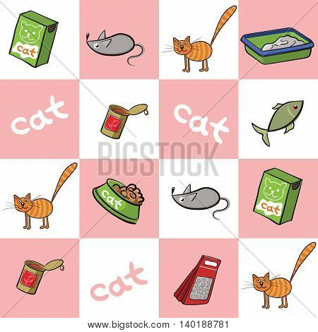 Cat and accessories for care. Vector illustration