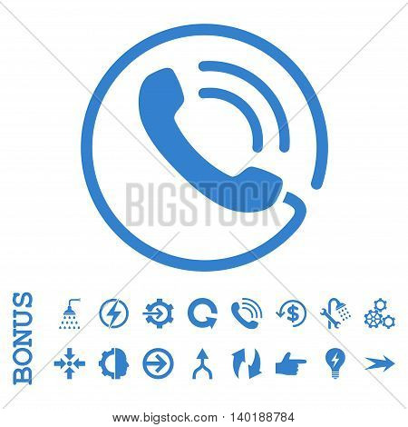 Phone Call vector icon. Image style is a flat pictogram symbol, cobalt color, white background.