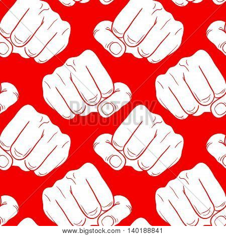 Raised fist. Strong fist on a red background. Mans hand. Male fist. Symbol of power and authority. Painted vector fist. Fist sketch