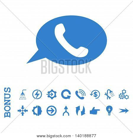 Phone Message vector icon. Image style is a flat pictogram symbol, cobalt color, white background.