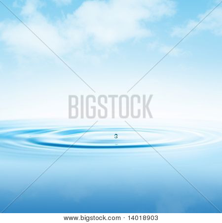 Drop on a water surface and abstract sky with airy clouds