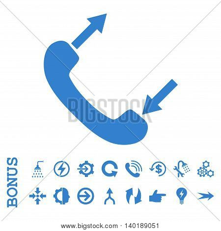 Phone Talking vector icon. Image style is a flat iconic symbol, cobalt color, white background.