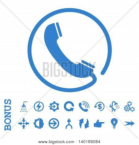 Phone vector icon. Image style is a flat iconic symbol, cobalt color, white background.