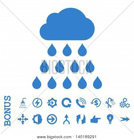 Rain Cloud vector icon. Image style is a flat iconic symbol, cobalt color, white background.