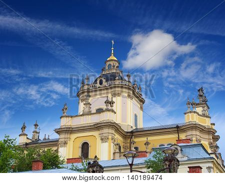 Domes of one of the most popular churches in Lviv - St. George's Cathedral
