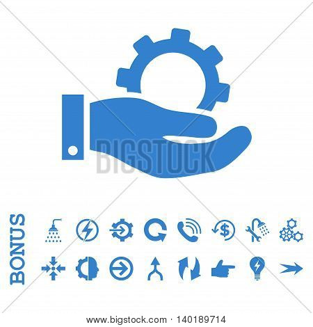Service vector icon. Image style is a flat pictogram symbol, cobalt color, white background.