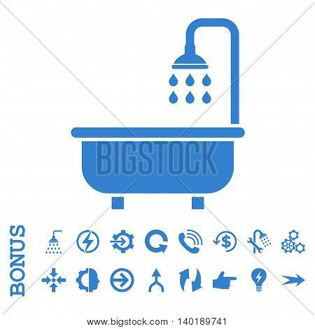 Shower Bath vector icon. Image style is a flat pictogram symbol, cobalt color, white background.