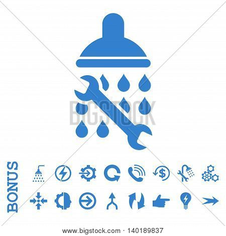 Shower Plumbing vector icon. Image style is a flat pictogram symbol, cobalt color, white background.