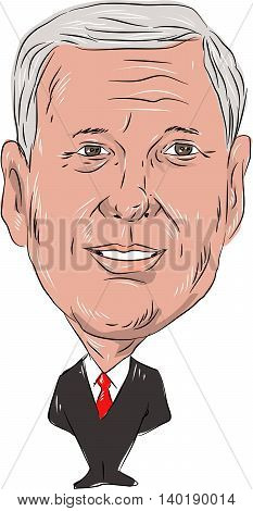 July 27, 2016: Caricature illustration of Michael Richard Mike Pence American politician Governor of Indiana and Republican Party nominee for Vice President of United Sates of America on isolated white background done in cartoon style.