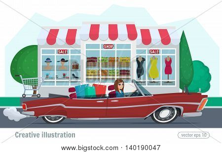 Girl Rides On A Red Convertible With Shopping Car Driving On Road. Vector Illustration Cartoon Femal
