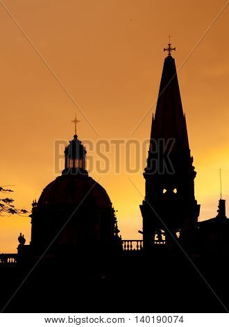 A Historical cathedral in Guadalajara Jalisco Mexico