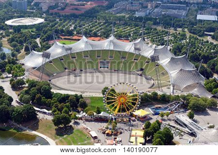 MUNICH GERMANY - AUGUST 4 2015: Aerial view of the Stadium in the Olympic Park constructed for the 1972 Summer Olympics seen from the 291 m high Olympic tower (Olympiaturm).