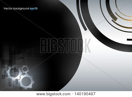 Black and silver vector abstract technology background