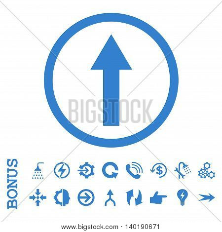 Up Rounded Arrow vector icon. Image style is a flat pictogram symbol, cobalt color, white background.