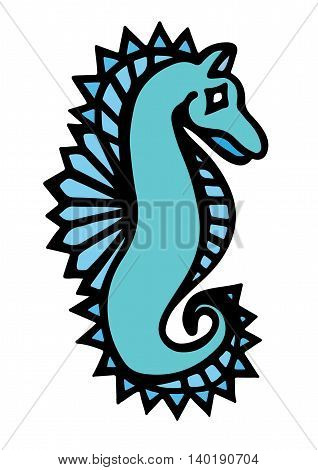 Blue abstract sea horse for tattoo and other design isolated on the white background