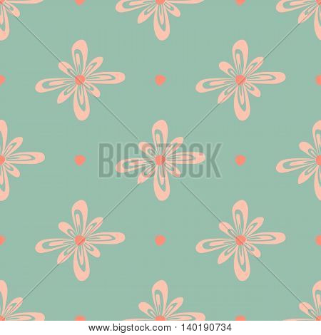A seamless floral pattern with hand-drawn pink flowers and points on green background