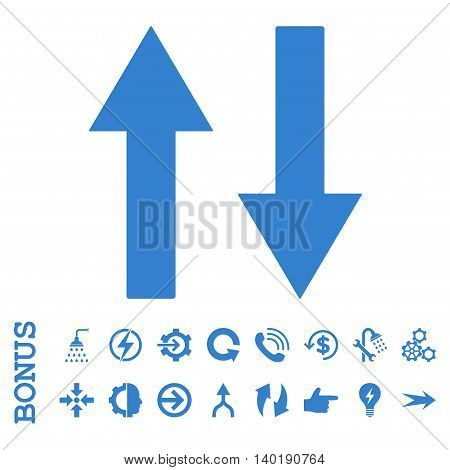 Vertical Flip Arrows vector icon. Image style is a flat iconic symbol, cobalt color, white background.