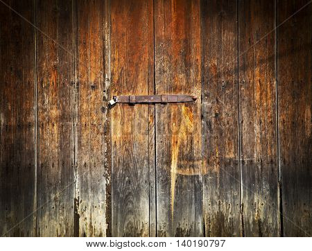 Grunge stile of wood door vintage in old town on Mexico.