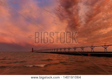 Lighthouse and Pier in south Haven Michigan at sunrise