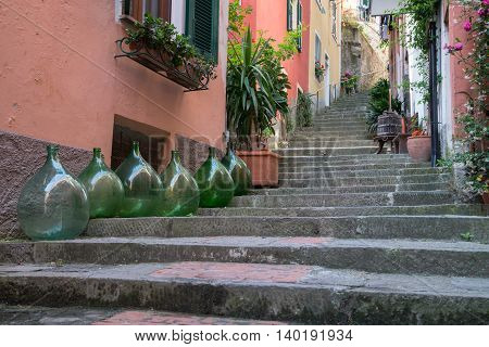 Row of homes along an alley in Monterosso Italy