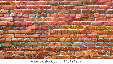red dirty old brick wall texture background