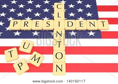 BERLIN GERMANY - JULY 27 2016: US Presidential election 2016: Letter tiles creating words clinton and president, with US flag, 3d illustration