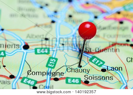 Chauny pinned on a map of France
