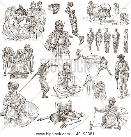 PEOPLE.Human race around the World. Nations. Group of people. Collection of hand drawn illustrations. Pack of full sized hand drawings. Set of freehand sketches. Line art technique. White background.