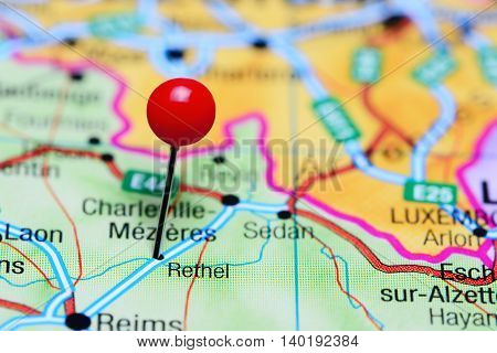 Rethel pinned on a map of France