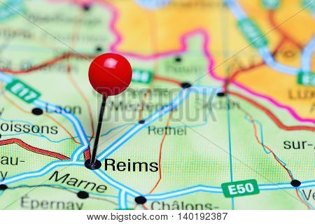 Reims pinned on a map of France