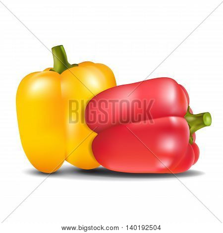 Yellow and red sweet pepper isolated on white background. Vector illustration.