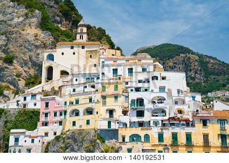 Cliffside home in the town of Amalfi along the Amalfi Coast in southern Italy.