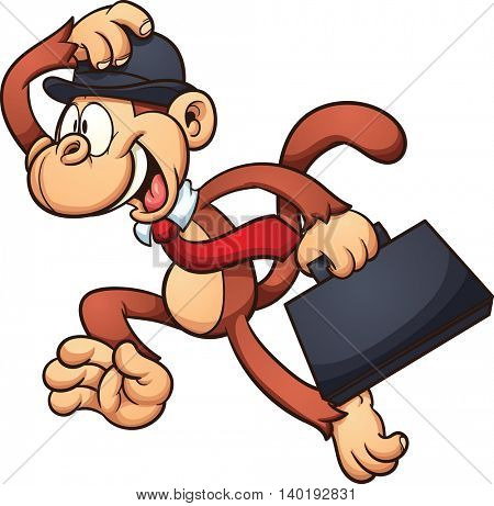 Worker monkey running. Vector clip art illustration with simple gradients. All in a single layer.