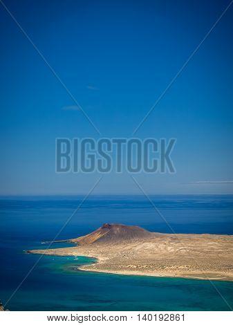 View of the La Graciosa, Allegranza and Montana Clara islands as seen from the Mirador del Rio, Lanzarote, Canary Islands, Spain