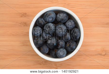 overhead view of blueberries in a bowl