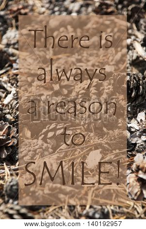 Vertical Texture Of Fir Or Pine Cone. Autumn Season Greeting Card. English Quote There Is Always A Reason To Smile