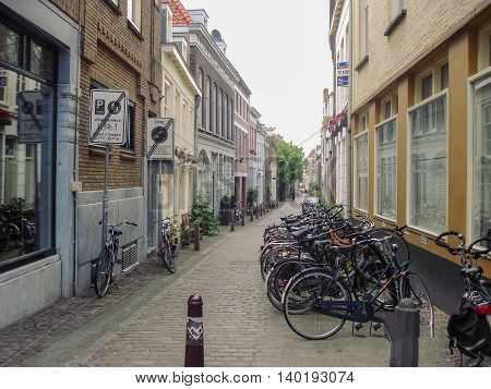 Amsterdam Holland - June 21 2010: City Bicycle Parking On The Streets Of Amsterdam
