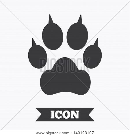 Dog paw with clutches sign icon. Pets symbol. Graphic design element. Flat paw symbol on white background. Vector