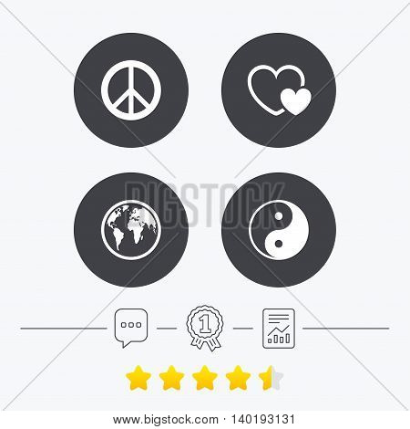 World globe icon. Ying yang sign. Hearts love sign. Peace hope. Harmony and balance symbol. Chat, award medal and report linear icons. Star vote ranking. Vector