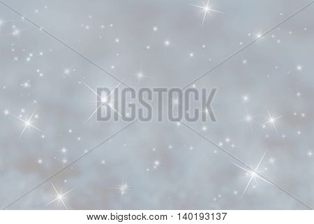 Christmas Background With Snow. Sparkling Stars For Magic Atmosphere. Copy Space For Advertisement. Card For Seasons Greetings. Gray Background Colored With Blue.