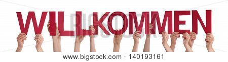 Many Caucasian People And Hands Holding Red Straight Letters Or Characters Building The Isolated German Word Willkommen Which Means Welcome On White Background