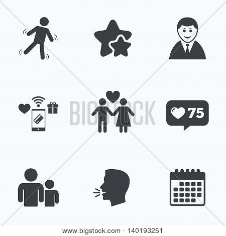 Businessman person icon. Group of people symbol. Man love Woman or Lovers sign. Caution slippery. Flat talking head, calendar icons. Stars, like counter icons. Vector