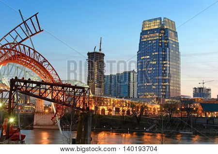 Detail of Nashville tennesee at sunset