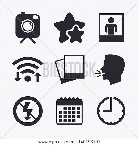 Hipster retro photo camera with mustache icon. No flash light symbol. Human selfie portrait photo frame. Wifi internet, favorite stars, calendar and clock. Talking head. Vector