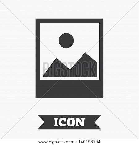 Photo frame template with landscape sign icon. Nature photography symbol. Graphic design element. Flat landscape photo symbol on white background. Vector