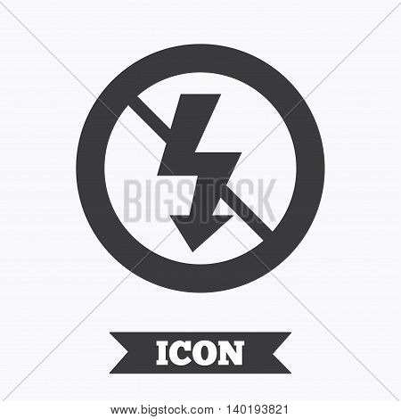 No Photo flash sign icon. Lightning symbol. Graphic design element. Flat no photo flash symbol on white background. Vector