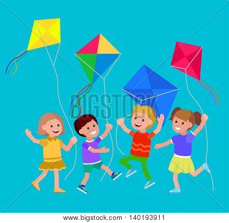 Cute vector character child. Kid playing with kite. Vector illustration. Vector for Celebration children day